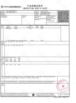 Certificat d'inspection 304SS