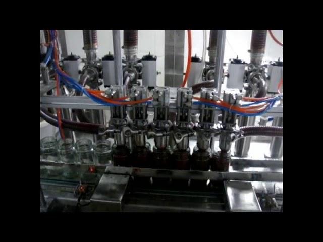 linéaire automatique 4 têtes piston bouteille visqueux ketchup sauce liquide emballage machine de remplissage